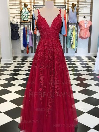 Elegant Tulle Prom Dresses A-Line/Princess Floor-Length V-neck Sleeveless (018218085)