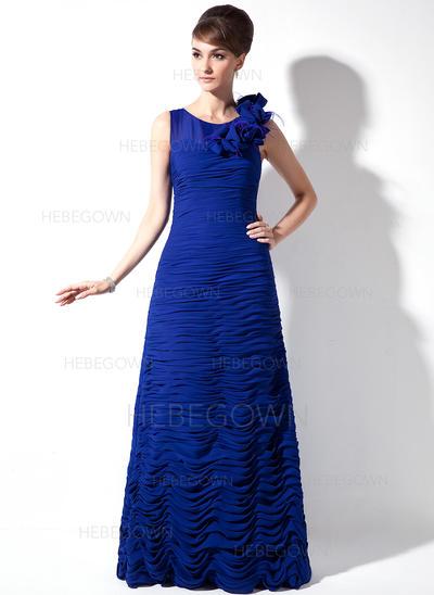 Chiffon Ärmellos Kleider für die Brautmutter U-Ausschnitt Etui-Linie Rüschen Feder Sweep/Pinsel zug (008006054)