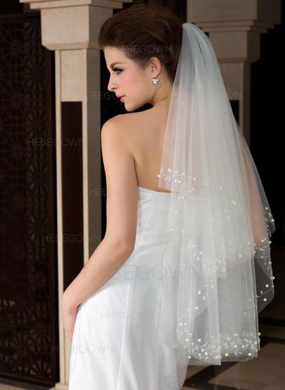 Fingerspitze Braut Schleier Tüll Zweischichtig Klassische Art mit Schnittkante Brautschleier (006151475)
