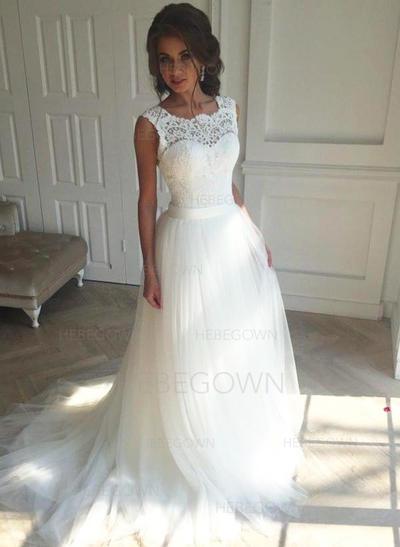 Tyll A-linjeformat Court släp Fyrkantshalsringning Bröllopsklänningar Ärmlös (002147809)