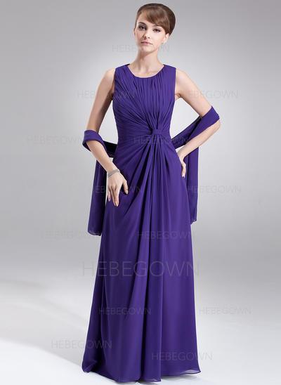 Chiffon Ärmellos Kleider für die Brautmutter U-Ausschnitt A-Linie/Princess-Linie Rüschen Bodenlang (008005977)