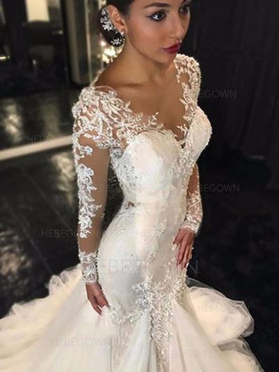 Stunning Tulle Wedding Dresses Trumpet/Mermaid Chapel Train V-neck Long Sleeves (002144830)