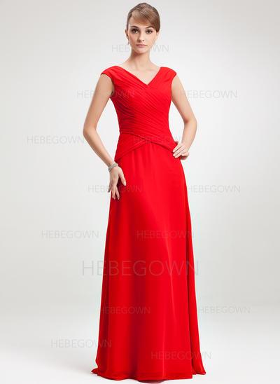 Chiffon Ärmellos Kleider für die Brautmutter V-Ausschnitt A-Linie/Princess-Linie Rüschen Bodenlang (008006264)