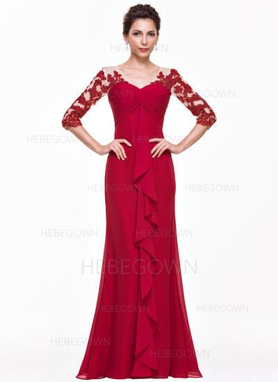 Empire-Linie V-Ausschnitt Bodenlang Chiffon Abendkleid mit Applikationen Spitze Gestufte Rüschen (017065560)