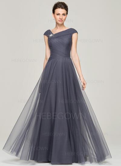 A-Linie/Princess-Linie V-Ausschnitt Bodenlang Tüll Abendkleid mit Rüschen Perlstickerei Pailletten (017092343)