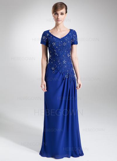 Chiffon Spitze Kurze Ärmel Kleider für die Brautmutter V-Ausschnitt A-Linie/Princess-Linie Perlstickerei Pailletten Sweep/Pinsel zug (008006160)