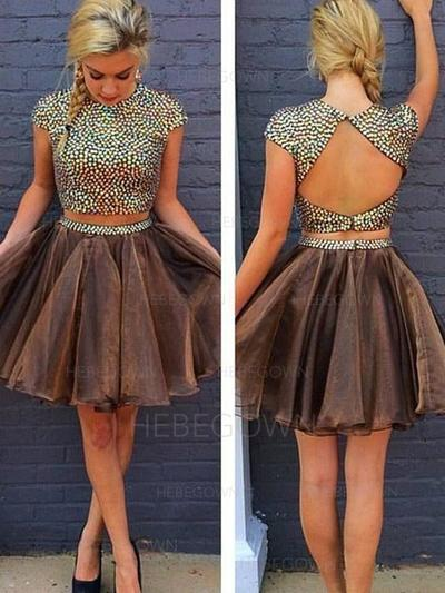 A-Line/Princess Beading Homecoming Dresses Scoop Neck Short Sleeves Detachable (022212260)
