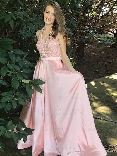 Delicate Satin Evening Dresses Floor-Length A-Line/Princess Sleeveless V-neck (017217026)