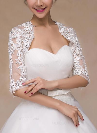 Bolero Hochzeit Lace Half-Sleeve mit Strasssteine Boleros & Stolen (013149714)