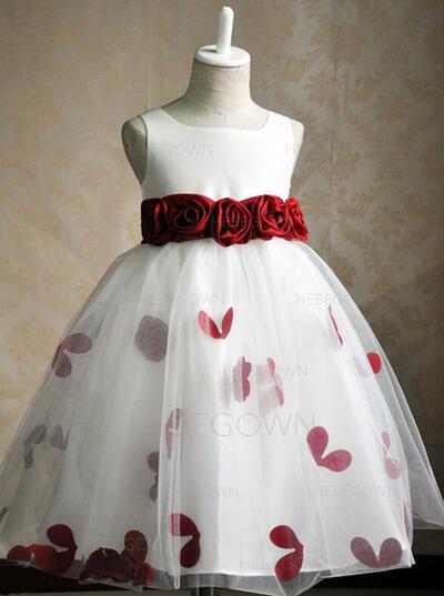 Elegant Duchesse-Linie Satin/Tüll Blumenmädchenkleider Knielang U-Ausschnitt Ärmellos (010146826)
