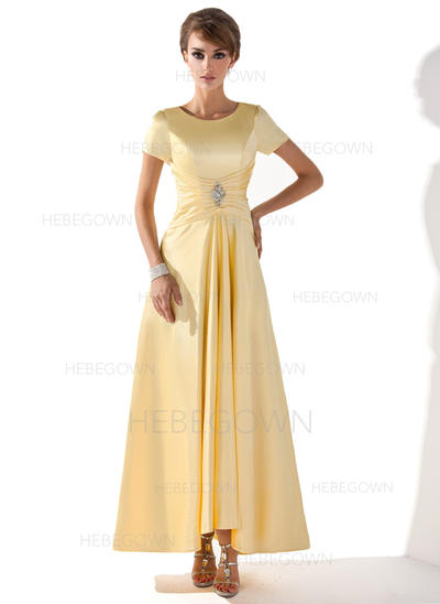 Charmeuse Short Sleeves Mother of the Bride Dresses Scoop Neck A-Line/Princess Ruffle Beading Asymmetrical (008005699)