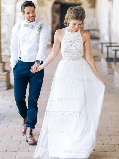 Chic Tulle Wedding Dresses A-Line/Princess Floor-Length Scoop Sleeveless (002144892)