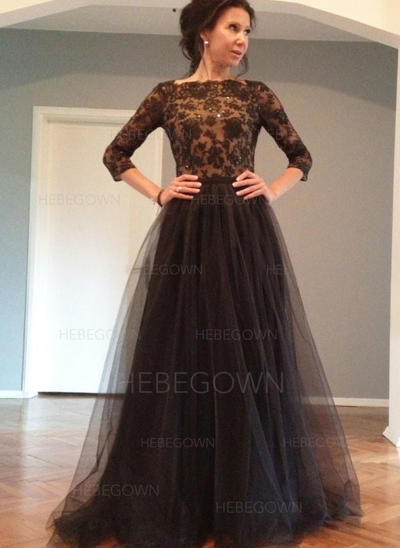 Tulle Lace 3/4 Sleeves Mother of the Bride Dresses Square Neckline A-Line/Princess Bow(s) Sweep Train (008146294)