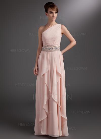 Chiffon Sleeveless Mother of the Bride Dresses One-Shoulder A-Line/Princess Beading Cascading Ruffles Floor-Length (008211217)