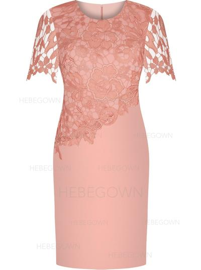 Satin Lace Short Sleeves Mother of the Bride Dresses Scoop Neck Sheath/Column Knee-Length (008146316)