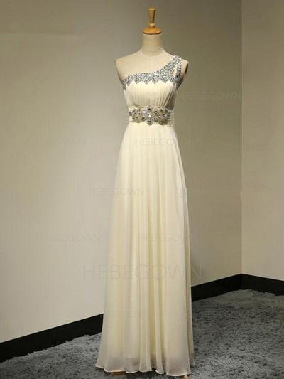 A-Line/Princess Chiffon Bridesmaid Dresses Beading One-Shoulder Sleeveless Floor-Length (007211711)