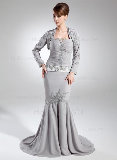 Chiffon Ärmellos Kleider für die Brautmutter Träger Trompete/Meerjungfrau-Linie Rüschen Perlstickerei Pailletten Hof-schleppe (008005952)