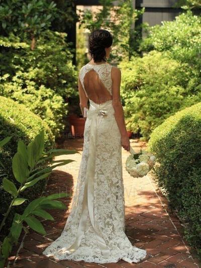 Delicate Lace Wedding Dresses Sheath/Column Sweep Train V-neck Sleeveless (002144847)