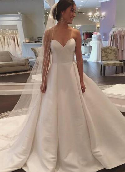 Senaste Satäng Bröllopsklänningar Balklänning Court släp Älsklingsringning Ärmlös (002148111)