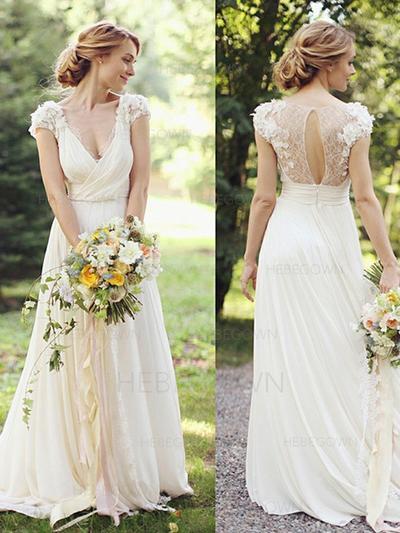 Luxurious Chiffon Wedding Dresses A-Line/Princess Floor-Length Deep V Neck Short Sleeves (002213518)