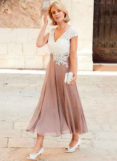 Chiffon Lace Short Sleeves Mother of the Bride Dresses V-neck A-Line/Princess Tea-Length (008146292)
