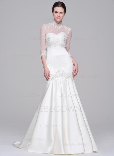 8931a871bf33 Modern Satin Wedding Dresses Trumpet/Mermaid Court Train Sweetheart  Sleeveless (002071542)