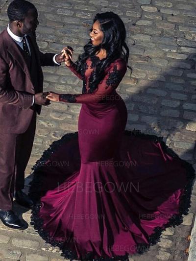 Chic Charmeuse Prom Dresses Trumpet/Mermaid Sweep Train Scoop Neck Long Sleeves (018218082)