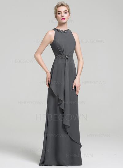 Empire-Linie U-Ausschnitt Bodenlang Abendkleid mit Perlstickerei Pailletten Gestufte Rüschen (017093480)