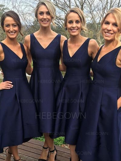Bridesmaid Dresses V-neck A-Line/Princess Sleeveless Asymmetrical (007211577)