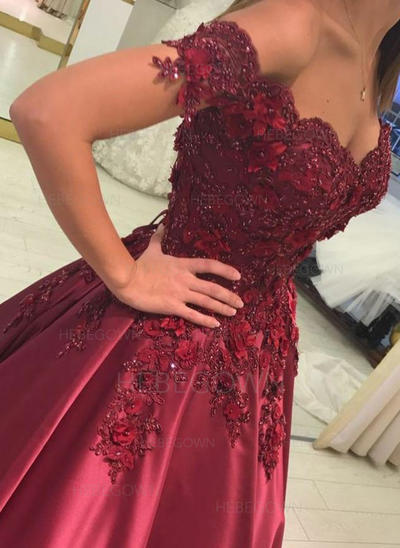 Stunning Evening Dresses Floor-Length Ball-Gown Sleeveless Off-the-Shoulder (017216967)