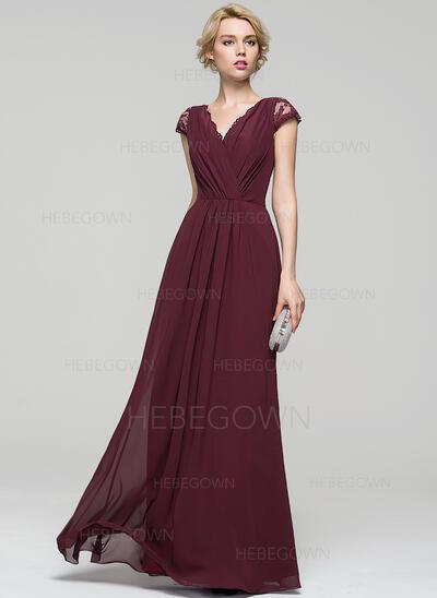 A-Linie/Princess-Linie V-Ausschnitt Bodenlang Chiffon Abendkleid mit Rüschen Spitze Schleife(n) (017086897)