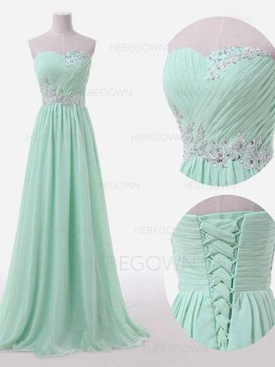Bridesmaid Dresses Sweetheart Chiffon A-Line/Princess Sleeveless Floor-Length (007211576)