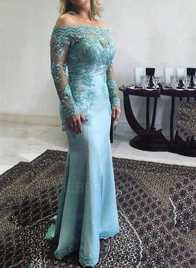 Satin Long Sleeves Mother of the Bride Dresses Off-the-Shoulder Trumpet/Mermaid Lace Appliques Lace Floor-Length (008146293)