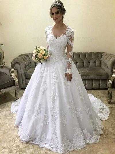 Glamorous Tulle Wedding Dresses Ball-Gown Court Train Scoop Long Sleeves (002218067)