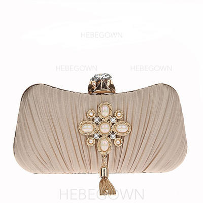 Clutches/Wristlets/Satchel/Bridal Purse/Fashion Handbags/Makeup Bags/Luxury Clutches Wedding/Ceremony & Party/Casual & Shopping/Office & Career Beading Snap Closure Elegant Clutches & Evening Bags (012187897)