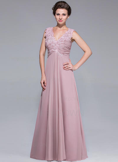 Chiffon Sleeveless Mother of the Bride Dresses V-neck A-Line/Princess Ruffle Lace Beading Sequins Floor-Length (008211502)