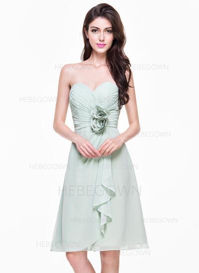 A-Linie/Princess-Linie Herzausschnitt Knielang Chiffon Brautjungfernkleid mit Blumen Gestufte Rüschen (007068370)