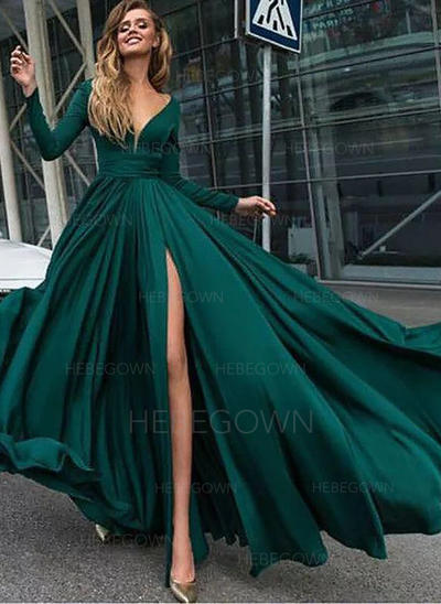 Magnificent Chiffon Evening Dresses Floor-Length A-Line/Princess Long Sleeves V-neck (017216976)