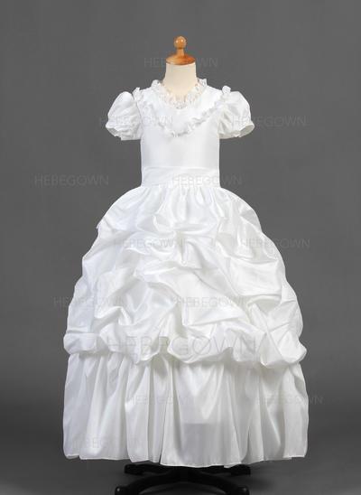 Prächtig A-Linie/Princess-Linie Taft Blumenmädchenkleider Bodenlang V-Ausschnitt Kurze Ärmel (010015770)