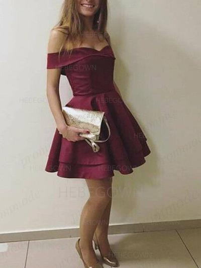 A-Line/Princess Cascading Ruffles Homecoming Dresses Off-the-Shoulder Short Sleeves Short/Mini (022216339)
