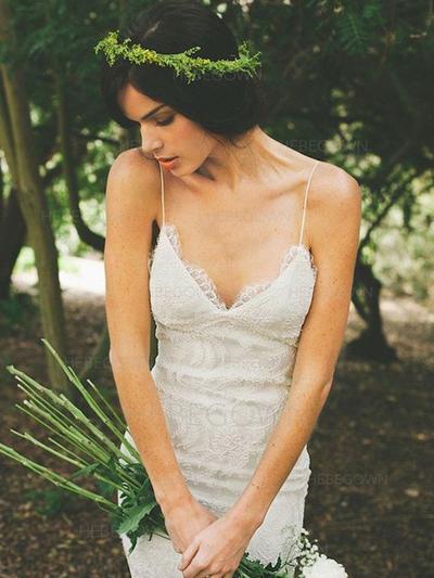 Simple Lace Wedding Dresses Trumpet/Mermaid Chapel Train V-neck Sleeveless (002217950)