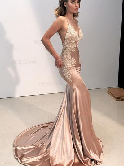 Delicate Silk Like Satin Prom Dresses Trumpet/Mermaid Sweep Train V-neck Sleeveless (018218473)