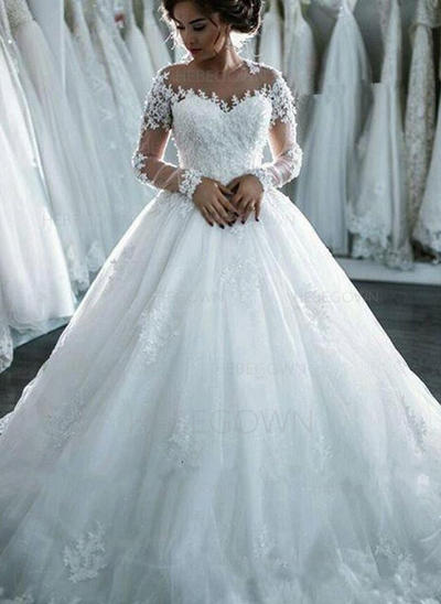 Chic Tulle Wedding Dresses Ball-Gown Cathedral Train Scoop Long Sleeves (002147917)