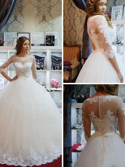 Sexy Tulle Wedding Dresses Ball-Gown Sweep Train Scoop Half Sleeves (002213513)