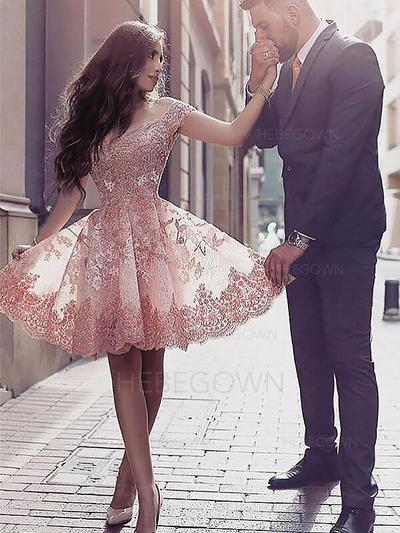 A-Line/Princess Ruffle Homecoming Dresses Scoop Neck Short Sleeves Short/Mini (022212378)