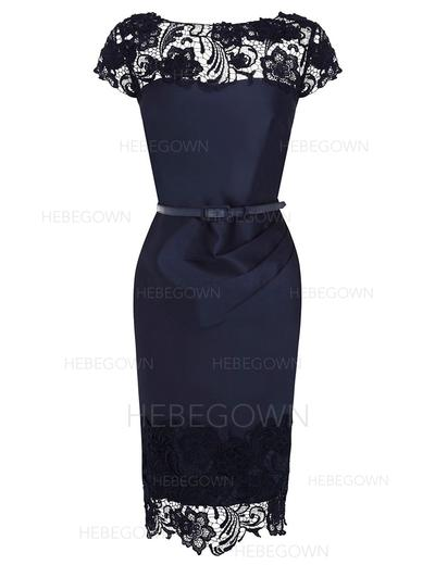 Charmeuse Lace Short Sleeves Mother of the Bride Dresses Scoop Neck Sheath/Column Knee-Length (008146357)