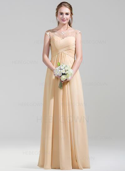 A-Linie/Princess-Linie U-Ausschnitt Bodenlang Chiffon Spitze Brautjungfernkleid mit Rüschen (007072788)