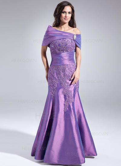 Taft Ärmellos Kleider für die Brautmutter Schatz Trompete/Meerjungfrau-Linie Spitze Perlstickerei Pailletten Bodenlang (008005998)