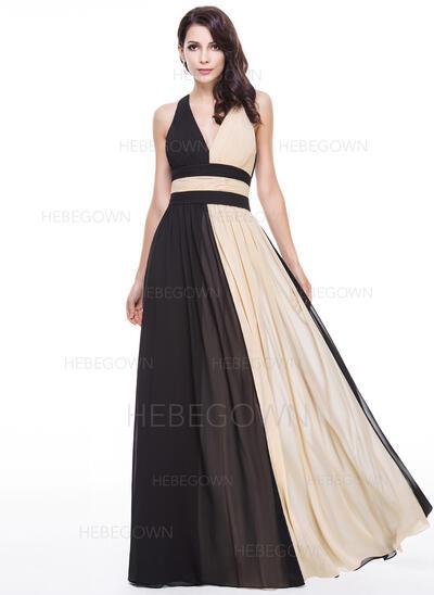 A-Linie/Princess-Linie V-Ausschnitt Bodenlang Chiffon Abendkleid mit Rüschen (017056130)