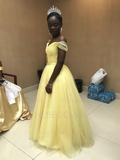 2019 New Tulle Evening Dresses Floor-Length A-Line/Princess Sleeveless Sweetheart (017212124)